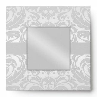 Silver Damask Monogram Ribbon Wedding Envelope envelope