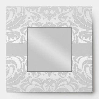 Silver Damask Monogram Ribbon Wedding Envelope