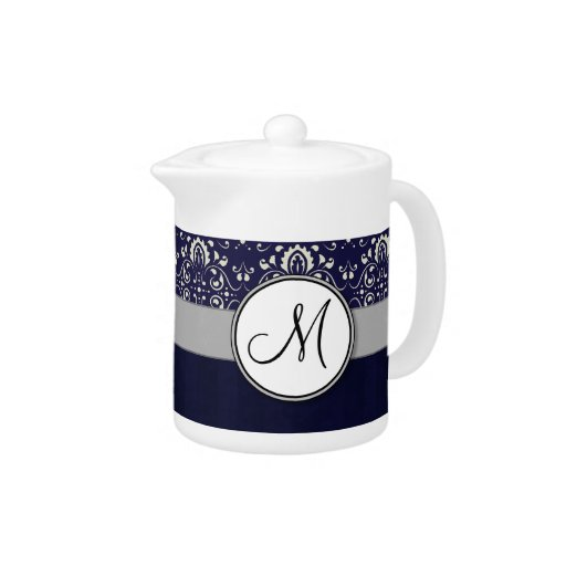 Silver Damask on Blue with Stripes and Monogram