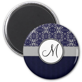 Silver Damask on Blue with Stripes and Monogram 2 Inch Round Magnet