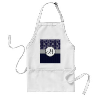 Silver Damask on Blue with Stripes and Monogram Adult Apron