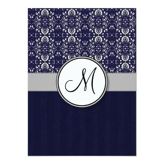 Silver Damask on Blue with Stripes and Monogram Card