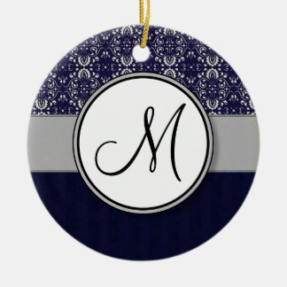 Silver Damask on Blue with Stripes and Monogram Ceramic Ornament