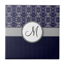 Silver Damask on Blue with Stripes and Monogram Ceramic Tile
