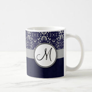 Silver Damask on Blue with Stripes and Monogram Coffee Mug