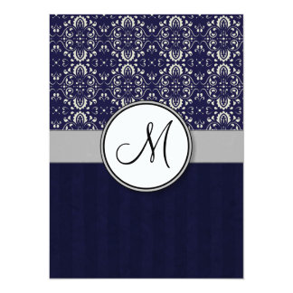 Silver Damask on Blue with Stripes and Monogram Personalized Invites