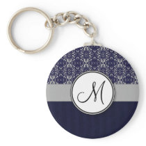 Silver Damask on Blue with Stripes and Monogram Keychain