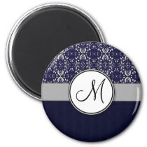 Silver Damask on Blue with Stripes and Monogram Magnet
