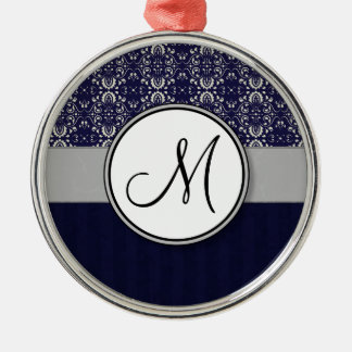 Silver Damask on Blue with Stripes and Monogram Metal Ornament