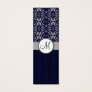 Silver Damask on Blue with Stripes and Monogram Mini Business Card