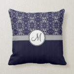 Silver Damask on Blue with Stripes and Monogram Throw Pillow