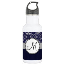 Silver Damask on Blue with Stripes and Monogram Water Bottle