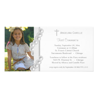 Silver Damask Pearls First Communion Photo Invite