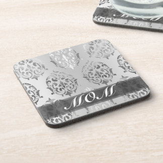 Silver damask personalized mom beverage coaster