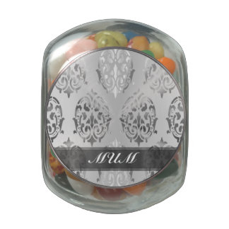 Silver damask personalized mom glass candy jar
