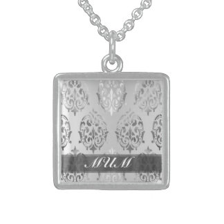 Silver damask personalized mom sterling silver necklace