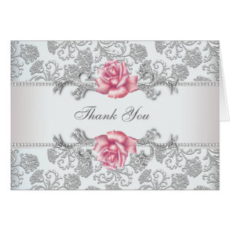 Silver Damask Pink Rose Thank You Stationery Note Card