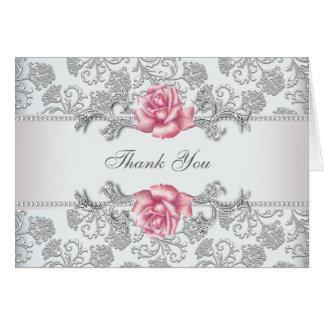 Silver Damask Pink Rose Thank You Greeting Card
