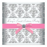 Silver Damask Pink Sweet Sixteen Birthday Party Personalized Announcement