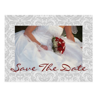 Silver Damask Rose Bouquet Save The Date Postcard