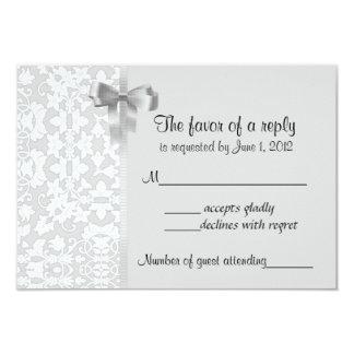 Silver Damask RSVP Cards Custom Invitations