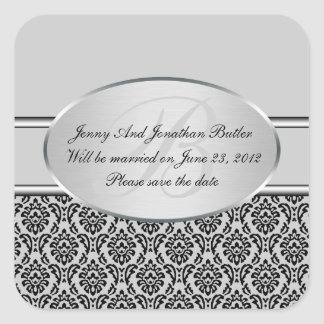Silver Damask Save The Date Stickers