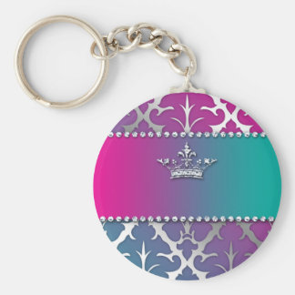 Silver-Damask-Shiny-Invite-Trio-Crown Keychain