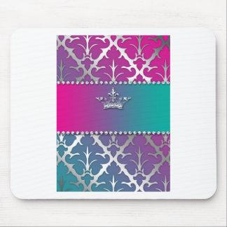 Silver-Damask-Shiny-Invite-Trio-Crown Mouse Pad