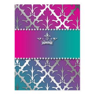 Silver-Damask-Shiny-Invite-Trio-Crown Post Card