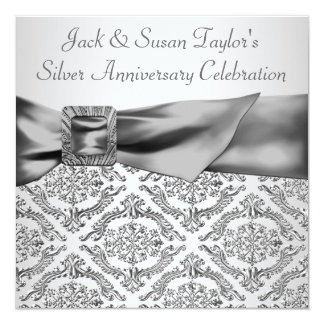 Silver Damask Silver 25th Anniversary Party Card