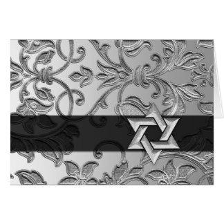 Silver Damask Silver Star of David Thank You Card