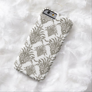 Silver Damask Simulated Glitter iPhone 6 Case