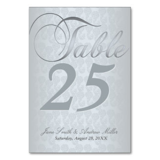 Silver damask Table Number Cards