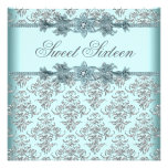 Silver Damask Teal Blue Sweet 16 Birthday Party Custom Invite