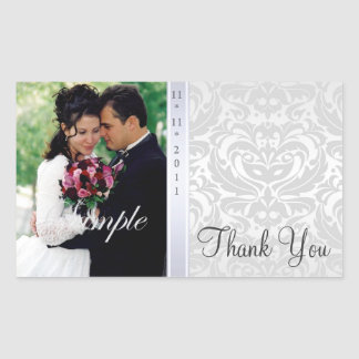 Silver Damask Thank You Photo Wedding Sticker
