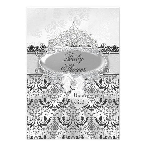 Silver Damask & Tiara Baby Shower Invitation Announcements