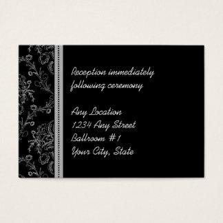 Silver Damask Wedding Reception Cards
