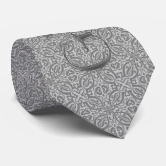 Silver Damask Wedding Tie for the Groom