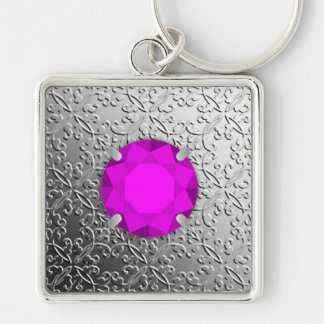 Silver Damask with a faux amethyst gemstone Silver-Colored Square Keychain