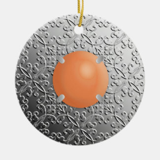 Silver Damask with a faux coral gemstone Ceramic Ornament