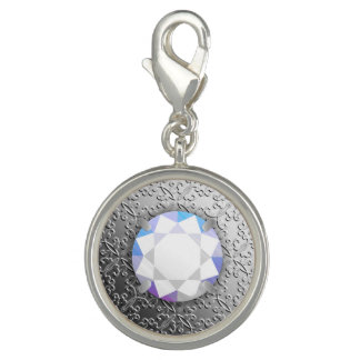 Silver Damask with a faux diamond gemstone Photo Charms