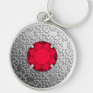 Silver Damask with a faux garnet gemstone Keychain
