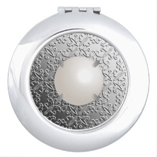 Silver Damask with a faux mabe pearl Compact Mirror