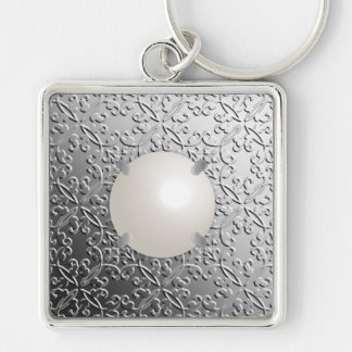 Silver Damask with a faux mabe pearl Keychain