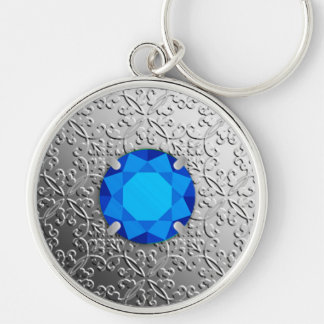 Silver Damask with a faux sapphire gemstone Keychain