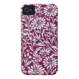 Silver Damask with burgundy  background iPhone 4 Case-Mate Case