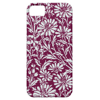 Silver Damask with burgundy  background iPhone SE/5/5s Case