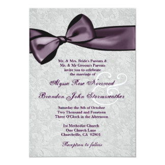 Silver Damask with Deep Purple Bow Wedding V2 5x7 Paper Invitation Card