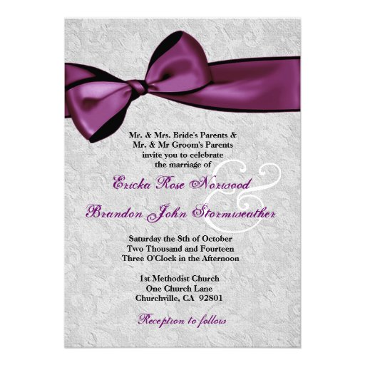 Plum And Silver Wedding Invitations: Silver Damask With Plum Purple Printed Bow Wedding