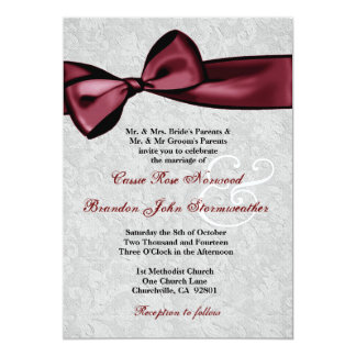 Silver Damask with Wine Red Printed Bow Wedding 5x7 Paper Invitation Card